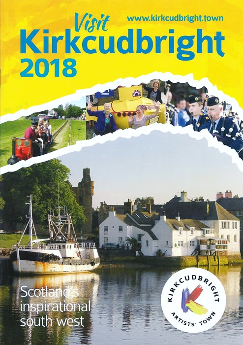 2018 Visit Kirkcudbright brochure featuring one of my photos as the main image on front cover