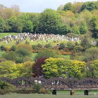 A view of Kirkcudbright graveyard from The Stell