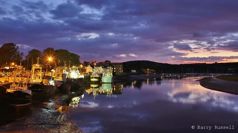 Kirkcudbright harbour at dusk