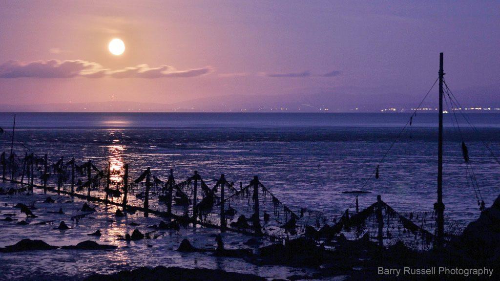 Moon rising at Balcary Bay